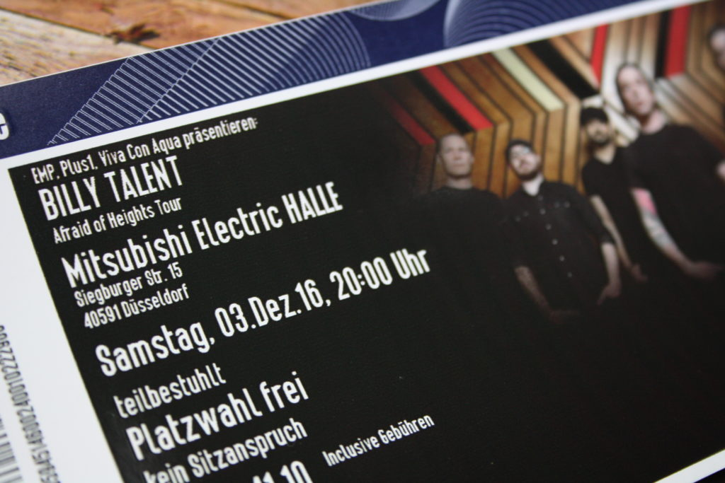 Tickets Billy Talent Afraid of heights düsseldorf
